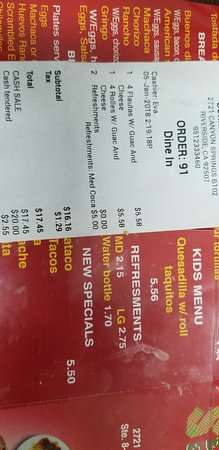 Riverside, AL: PRICE OF DRINKS ON RECEIPT V MENU