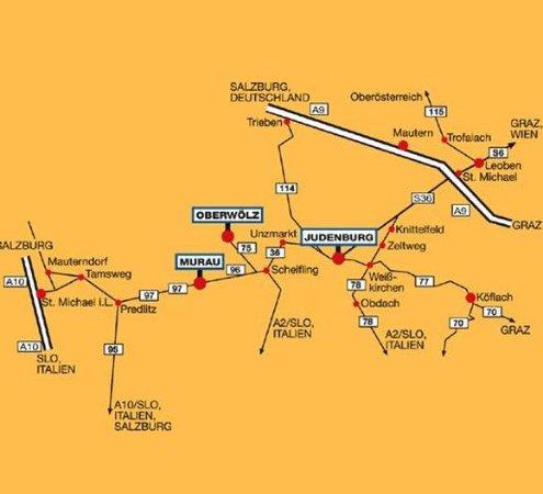 Oberwoelz Stadt, Østerrike: Map