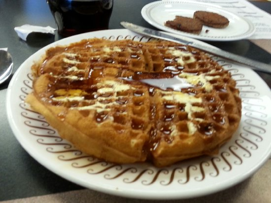 Pecan Waffles With Butter And Syrup