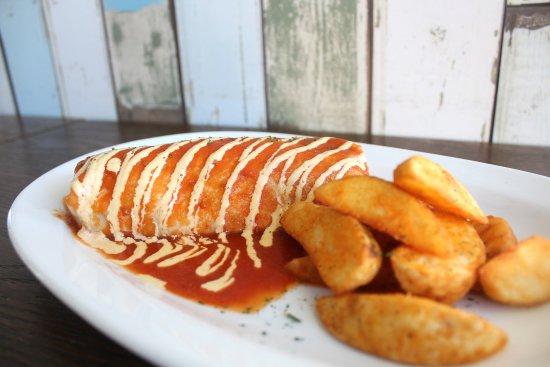 Tepatitlan de Morelos, Mexiko: Burrito de camaron bañado con salsa tipo gemma