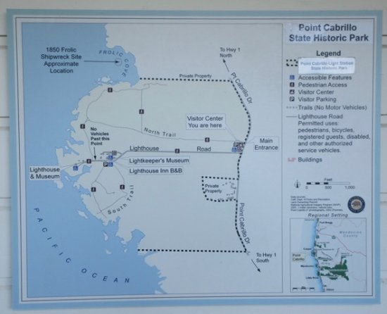 This map of the park is located on the wall by the restrooms in the Cabrillo Map on