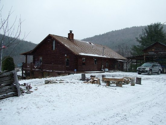 Franklin, WV: Main lodge with fire pit and picnic pavillion is in the background