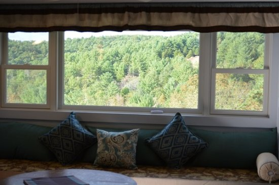 Franklin, WV: View of the mountains from the window seat in the luxury apartment