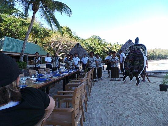 Turtle Islands, Fiyi: Breakfast, entertainment, and reviewing the Bula Bula board.