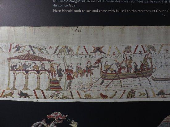Museo del Tapiz de Bayeux: Scene 4: Harold embarking by sea.