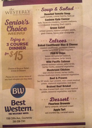 Westerly Restaurant : This is the senior menu for 55 years and up