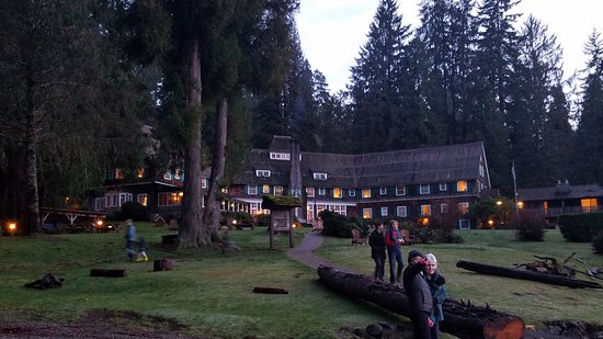 Quinault, วอชิงตัน: The back of the lodge on the lakeside...and all the people who discovered the amazing sunset.