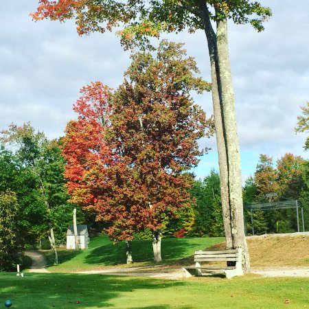 Loudon, NH: Take a rest at this bench, at the 10th tee, before starting the back 9