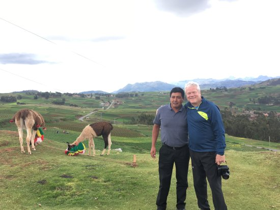 Ollantaytambo, Peru: Ronnie, the Llama brothers and me.