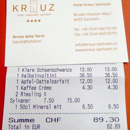 Sachseln, Suiza: Not cheap, but great food and excellent service are well worth it