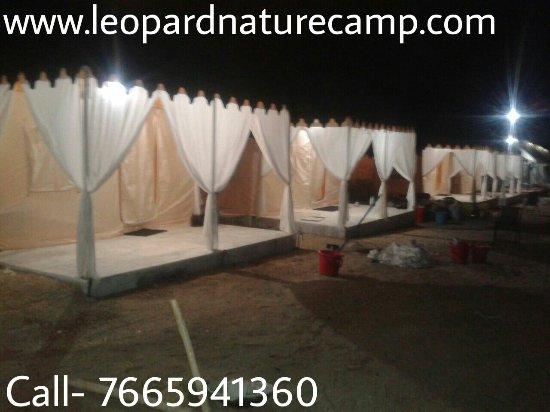 Bali, India: Swiss cottage tents at Jawai rajasthan night view
