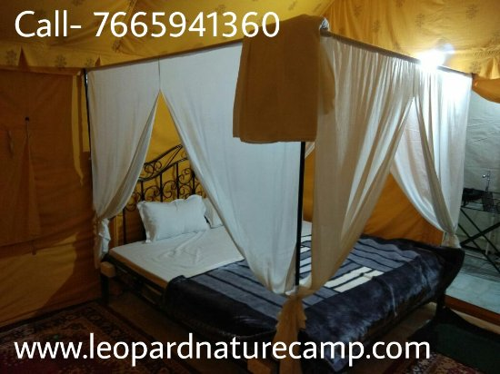 Bali, India: Swiss cottage tents inside view