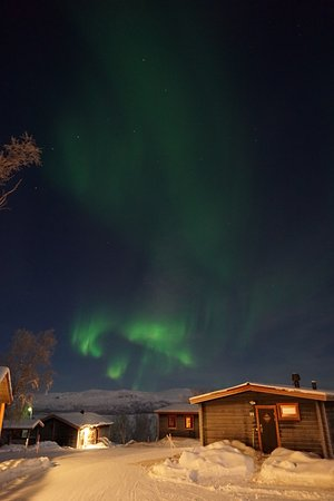 Bjorkliden, Suecia: Polar lights right over our cabin