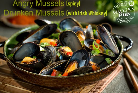 Fort Kent, ME: steamed mussels in 6 different flavors
