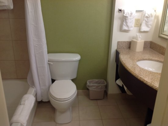 Washbasin, toilet & shower over the bath - Picture of Hilton Garden ...