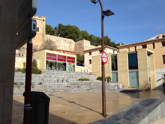 Denia, Spain: View across square towards tourist office and tunnel