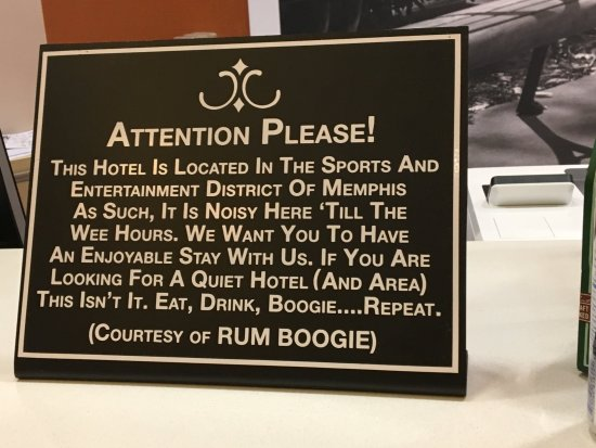 Hampton Inn & Suites Memphis - Beale Street : Gotta love a hotel with a sense of humor