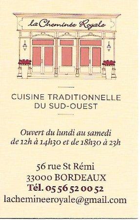 restaurant cheminee royale bordeaux restaurant avis num ro de t l phone photos tripadvisor. Black Bedroom Furniture Sets. Home Design Ideas