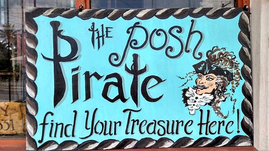 St. John's, Antigua: Hand-painted sign at the Posh Pirate antique shop!