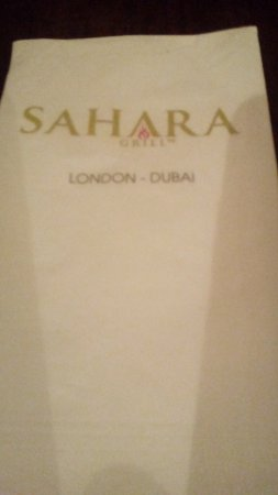 Ilford, UK: Sahara menu