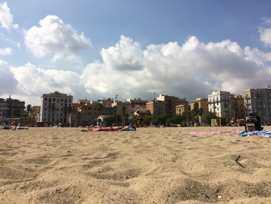Calgary, UK: Barcelona Town Beach, lovely but persistent hecklers with drinks and food and massages spoilt it
