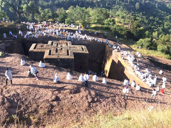 An Ethiopian orthodox ceremony at s.t gorge church lalibela