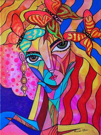 Γρανάδα, Νικαράγουα: Ricardo Maya acrylic painting-