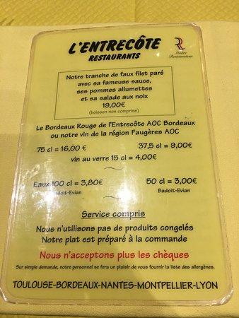 Carte Restaurant Bordeaux.Carte Du Restaurant Picture Of L Entrecote Montpellier