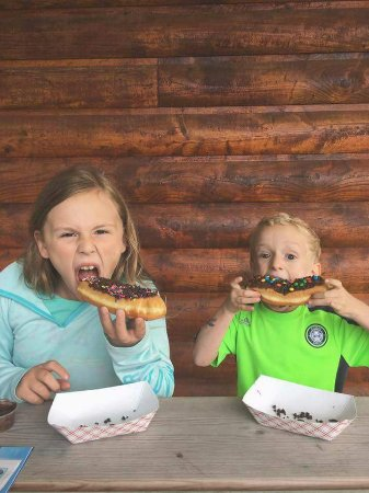Egg Harbor, WI: My little campers enjoying decorate your doughnut.