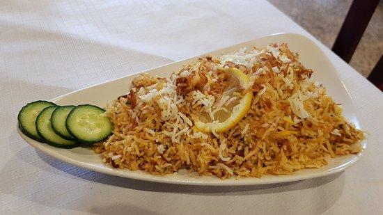 Atocha Tandoori: Prawn Biryani (arroz basmati con gambas)