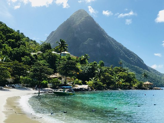 Israel King Water Taxi  Private Tours: The beautiful Sugar beach with the Pitons in background