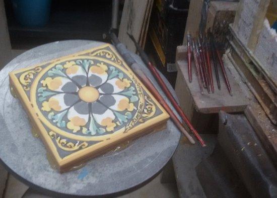 Piastrella pronta per decorazione ceramiche artistiche liborio