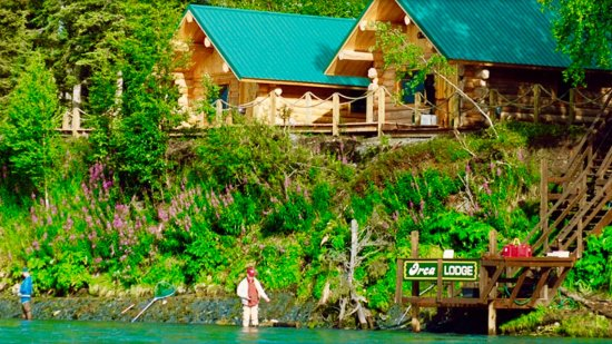 Orca Lodge: 2 of our cabins from the river