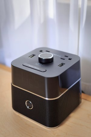 Accent Inn Vancouver Airport: Lots of outlets for your devices and a bluetooth speaker