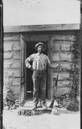 Black American West Museum: Alonzo Stepp in front of their home.