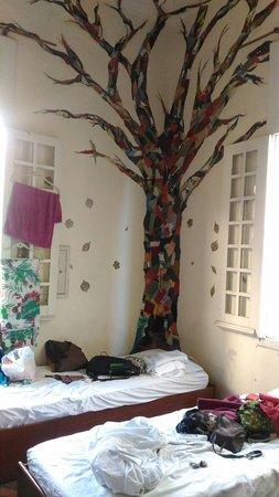 Guanaaní Hostel: Decoração do quarto de 8 pessoas. Iluminado e arejado. A bagunça das camas é por nossa conta.