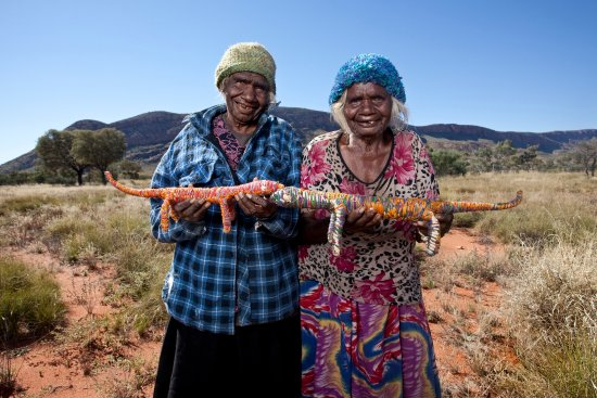 Alice Springs, Australia: Martha Protty and Nyinku Kulitja at Docker River 2010 Photo by R Hammerton©Tjanpi Desert Weavers