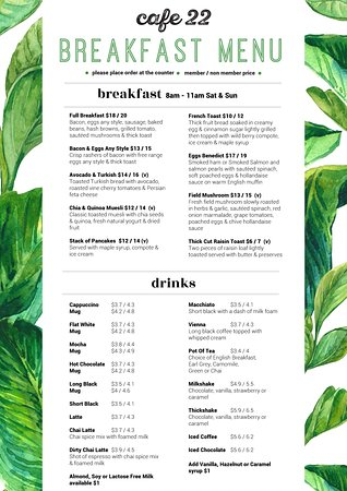 Helensvale, Australien: Cafe 22 weekend breakfast menu available Saturday & Sunday 8am - 11am.