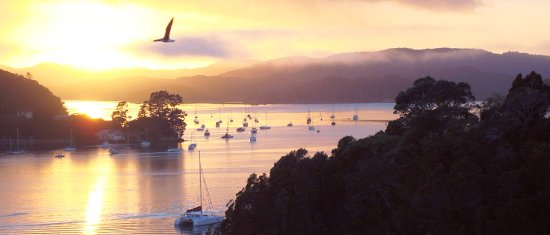 Opua, New Zealand: Monarch suite: Side view of sunrise over Waikare Inlet