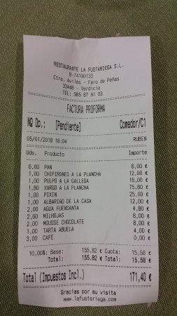 Verdicio, สเปน: Factura detallada