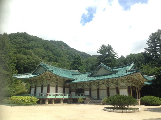 Hyangsan, North Korea: A temple in Pohyonsa complex.