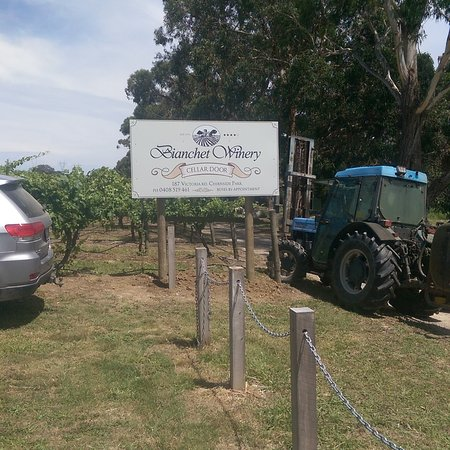 Chirnside Park, Australien: Bianchet Winery, home of Cosmo Wines. New sign erected 23/12/2017.