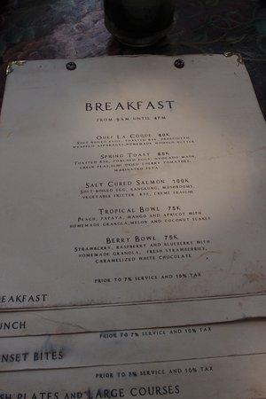 menu breakfast picture of la laguna canggu tripadvisor rh tripadvisor com au