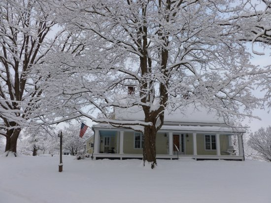 Addison, VT: Whitford House Winter with Trees and Flag