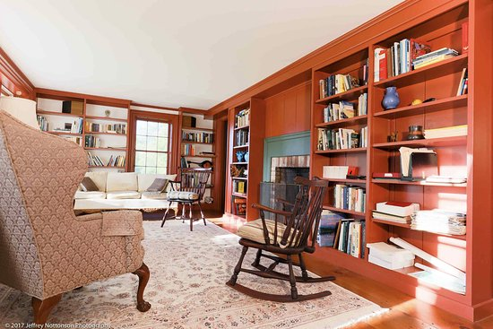 Addison, VT: Whitford House Library with Fireplace