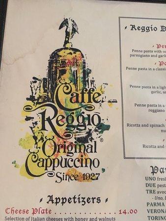 Caffe Reggio: Menu