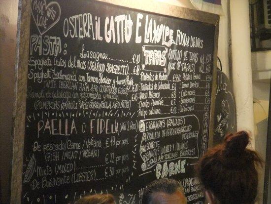 Menù Picture Of Il Gatto E La Volpe Ibiza Tripadvisor