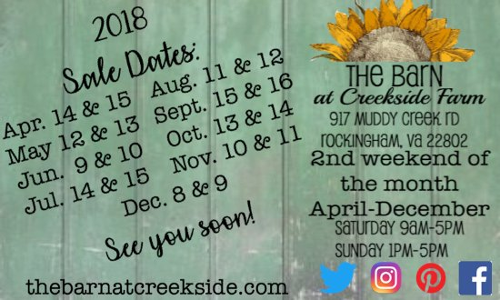 The Barn at Creekside Farm : Our Sale Dates 2018