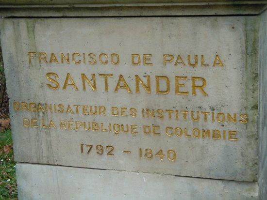 Statue de Santander: Plaque sur le socle