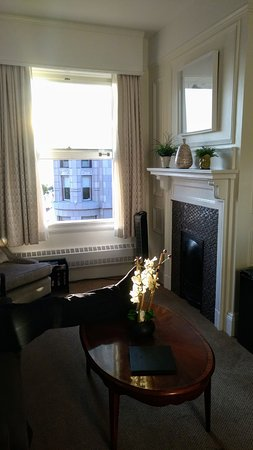 Union Club Of British Columbia: View Of The Living Area, Fireplace And  Window
